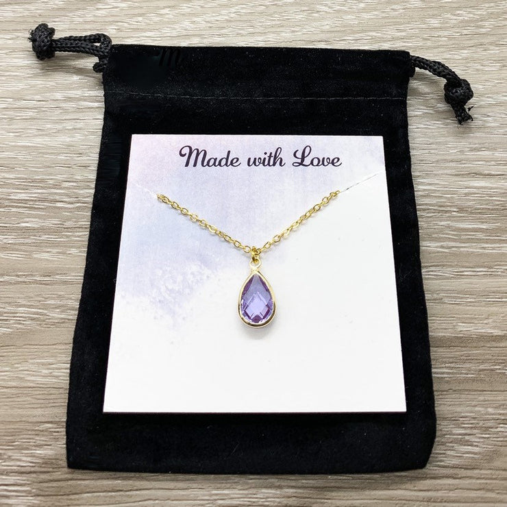 June Birthstone Necklace, Light Amethyst Pendant, Dainty Crystal Charm Necklace, Personalized Birthday Gift for Her, Meaningful Jewelry, Mom