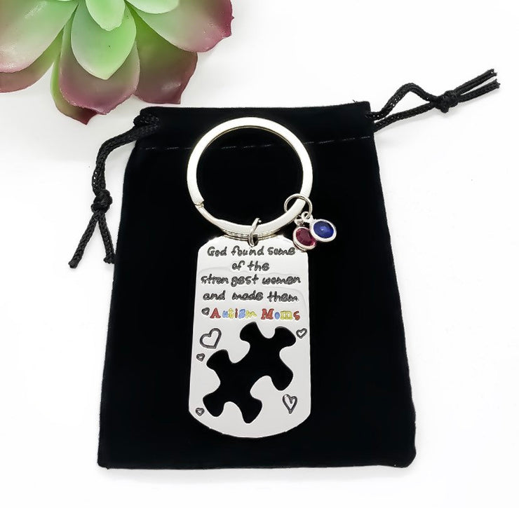 Autism Awareness Gift, Autistic Mother Keychain, Gift from Child, Jigsaw Puzzle Pendant, Mother Gift, Holiday Gift for Mom, Birthday Gift