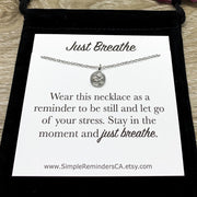Tiny Ohm Necklace, Small Aum Jewellery, Simple Reminder Gift, Just Breathe Quote, Meditation Gift, Mental Health Gift, Buddha Necklace, Yoga