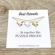 Best Friends Necklace Set for 3, Matching Puzzle Necklaces, Puzzle Jewelry Rose Gold, Friendship Quote Card, Friends Gift, Shareable Jewelry