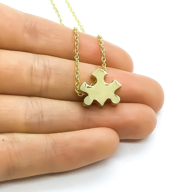 Motherhood Necklace, Autism Parent Gift, Rose Gold Puzzle Necklace, Silver Puzzle Jewelry, Autism Awareness Necklace, Jigsaw Puzzle Gift