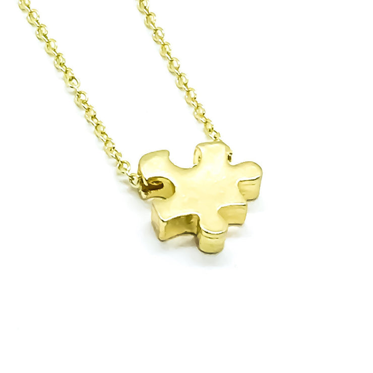 Tiny Puzzle Necklace, Minimalist Puzzle Piece Pendant, Autism Awareness Gift, Jigsaw Puzzle Jewelry, Gift for Mommy, Dainty Necklace,