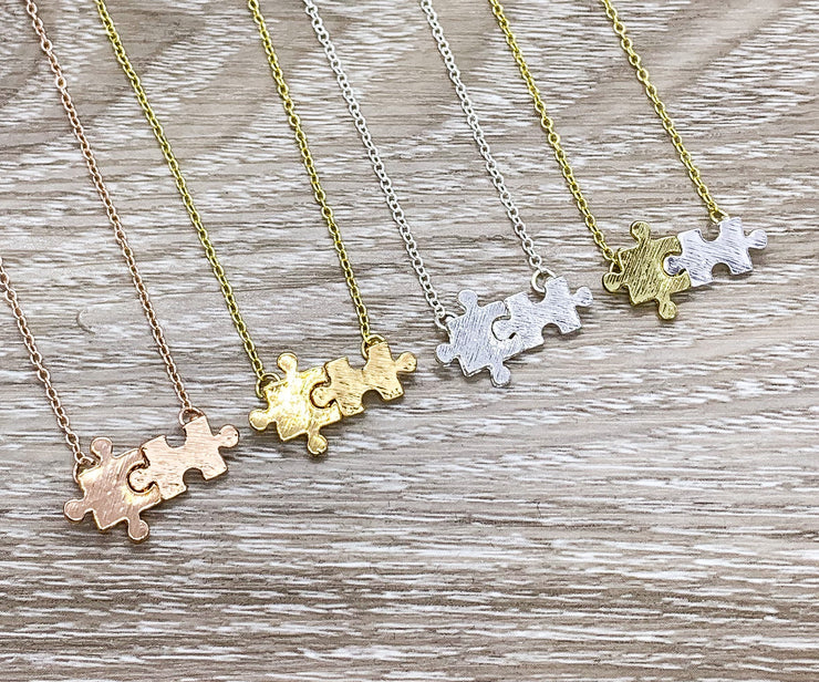 Autism Awareness Gift, Tiny Double Puzzle Necklace, Special Education Teacher Gift, Minimalist Jewelry, Puzzle Pendant, Teacher Appreciation