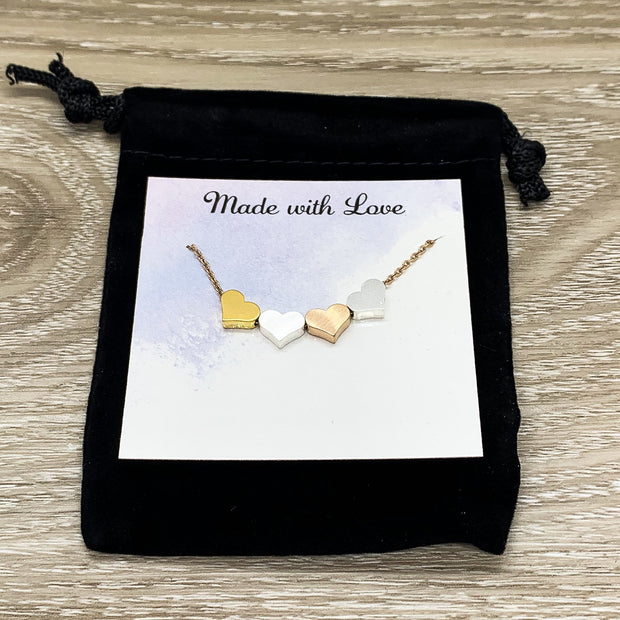 Mother of Three Gift, 3 Hearts Necklace with Personalized Card, Mother Necklace, Gift for Mom, Gift for Mom Jewelry, Dainty Hearts Necklace