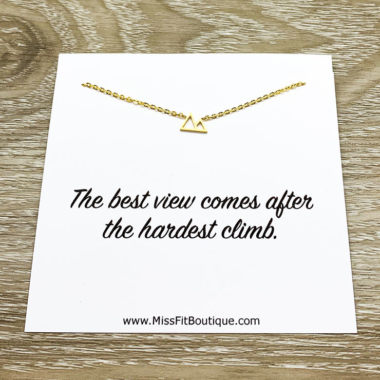 Tiny Mountain Necklace with Personalized Card, Inspirational Gift, Thoughtful Gift, Sentimental Jewelry, Travel Jewelry, Minimalist Necklace