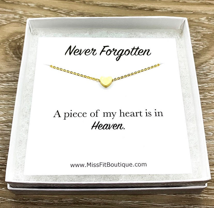 Tiny Rose Gold Heart Necklace, Piece of my Heart is in Heaven Necklace, Never Forgotten Card, Dainty Loss Jewelry, Remembrance Gift, Grief