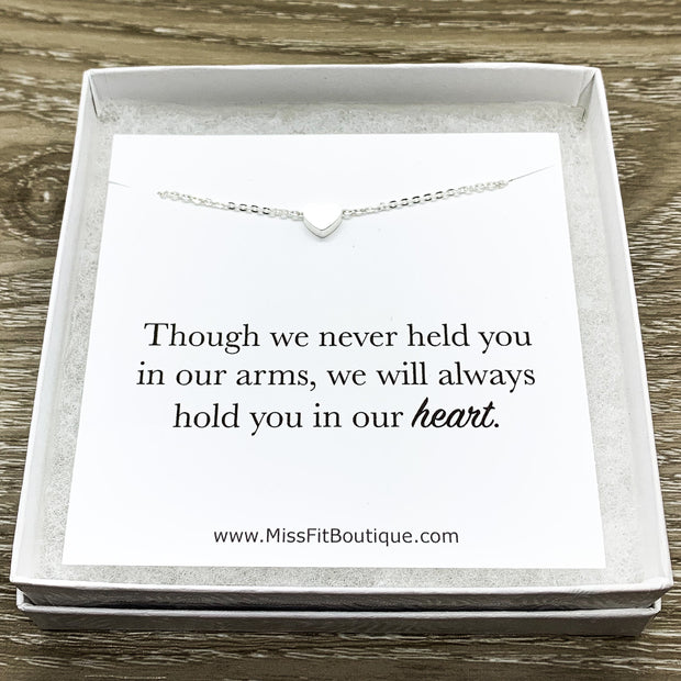 Miscarriage Gift, Tiny Rose Gold Heart Necklace, Stillborn Gift, Infant Loss  Jewelry, Silver Mourning Necklace, Grief Gifts