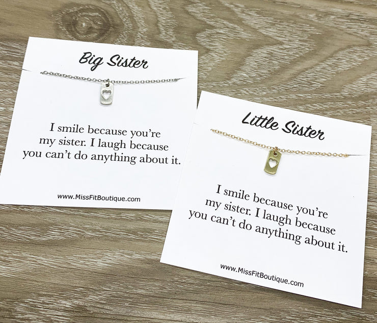 Sisters Necklace Set for 2, Matching Heart Dog Tag Pendants, Big Sister Gift, Tiny Heart Necklace, Little Sister Gift, Gift for Sister