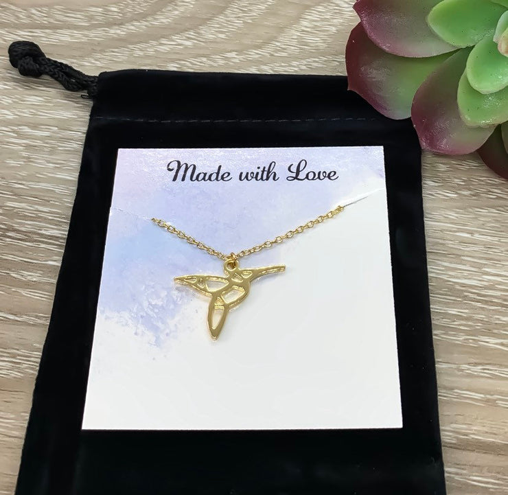 Hummingbird Necklace with Personalized Card, Bird Jewelry, Nature Lover Jewelry, Friendship Necklace, Motivational Gift, Inspirational Gift