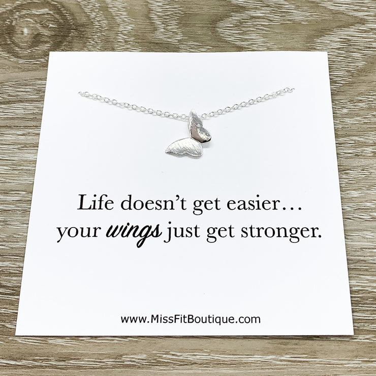 Butterfly Necklace with Inspirational Card, Dainty Jewelry, Wings Just Got Stronger, Strength Gift, Tiny Butterfly, Friendship Necklace