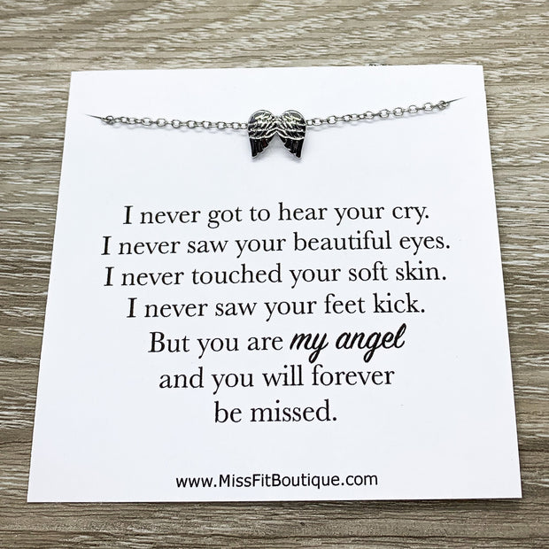 Miscarriage Necklace, Mommy to an Angel Gift, Infant Loss, Stillborn Memorial, Angel Wings Necklace, IVF Mother Gift, Baby Loss Jewelry
