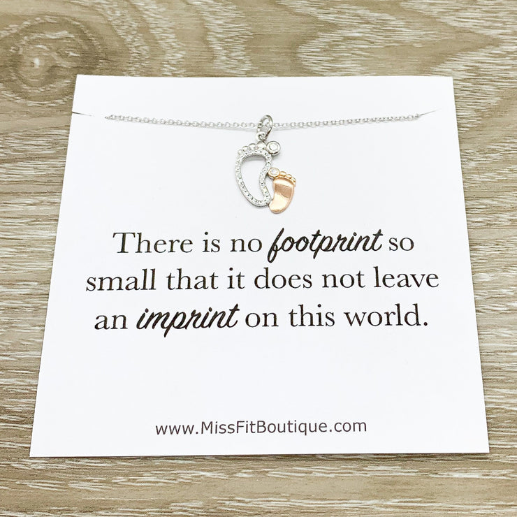 Footprint Miscarriage Necklace, Baby Loss Jewelry, Sympathy Gift, Stillborn Foot Print Necklace, Remembrance Gift, Mourning Motherhood