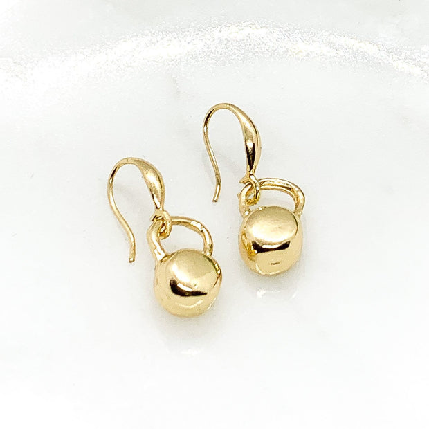 Kettlebell Earrings, Dainty Fitness Earrings, Tiny Gold Kettlebell Charm Jewelry, Weightlifting Gift, Fitness Trainer Gift, Crossfit Jewelry