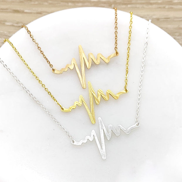 Heartbeat Necklace, Gift for Granddaughter, Gift from Mother, Gift from Grandma, Gift from Nana, Niece Necklace, Birthday Gift