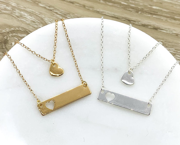 Hearts Necklace Set for 2, Dainty Necklaces, Mother Daughter Necklace Set, Friends Friends Gift, Minimal Heart Jewelry, Gift for Daughter