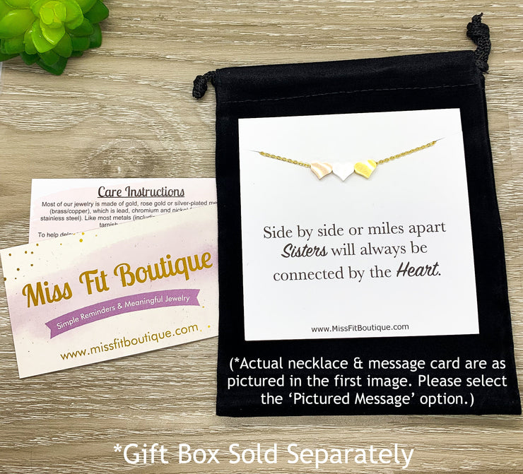Personalized Necklace with Card, Unbiological Sister Gift, Tiny Heart Necklace, Sister-in-Law Gift, Sister I Got To Choose, Minimal