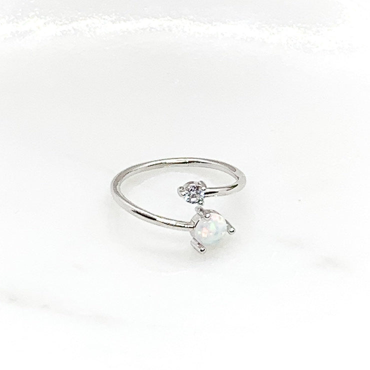 Adjustable Opal Ring, Minimalist Jewelry, Cubic Zirconia Ring, October Jewelry, Promise Ring, Statement Ring, Opal Birthstone Jewelry