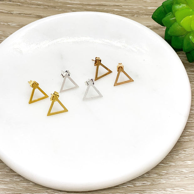 Triangle Stud Earrings, Dainty Geometric Jewelry, Minimalist Earrings, Triangle Jewelry, Everyday Earrings, Thinking of You Gift, Birthday