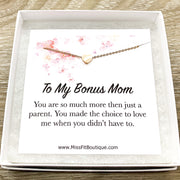 Bonus Mom Gift, Sentimental Card, Unbiological Mother Gift, Heart Necklace, Gift for Mother in Law, Simple Reminder Gift, Gift from Bride