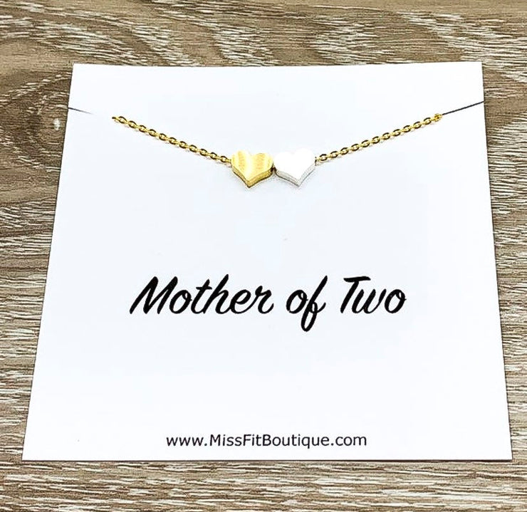 Mother of Two Necklace with Gift Box, Multiple Hearts Necklace, 2 Heart Pendants, Gift for Mom from Kids, Gift for Mama, Mother Birthday