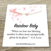 Rainbow Baby Quote, Congratulations Card, Tiny Heart Necklace, New Baby Gift, New Mom Jewelry, Miscarriage, Infertility Support Gift