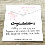 Congratulations Card, Mommy Gift, Tiny Heart Necklace, New Baby Gift, New Mom Quote, New Mother Gift, Baby Shower Gift, Gift from Friend