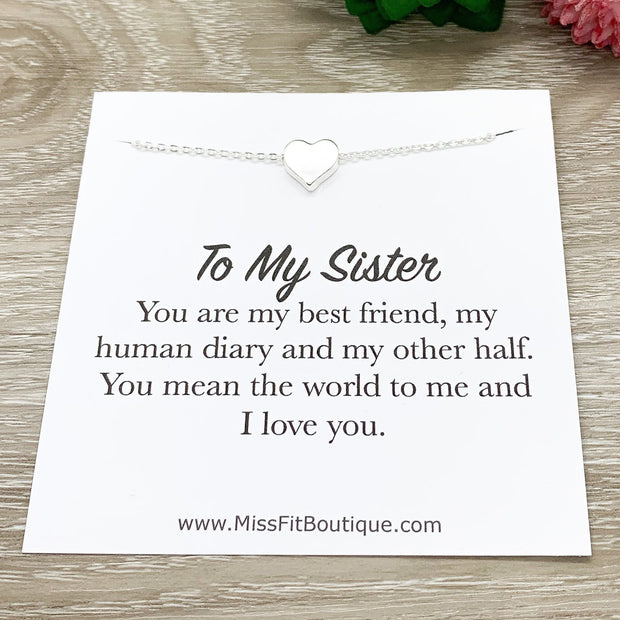 Rose Gold Heart Pendant Necklace, Sister Quote Card, Sisters Jewelry, Sisterhood, Gift for my Sister, Birthday Gift for Her
