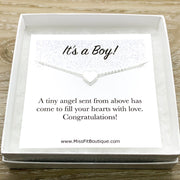 It's a Boy Card, Gift for New Mom, Heart Pendant Necklace, Mother Jewelry, Motherhood, Baby Shower Gift, New Mommy Gift from Friend