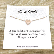 It's a Girl Card, Gift for New Mom, Heart Pendant Necklace, Mother Jewelry, Motherhood, Baby Shower Gift, New Mommy Gift from Friend