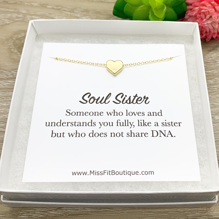 Gold Heart Pendant Necklace, Soul Sister Quote Card, Sisters Jewelry, Sisterhood, Unbiological Sister Gift, Birthday Gift for Her