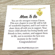 Card for Mom To Be, Tiny Heart Necklace with Footprints, Expectant Mother Gift, Motherhood Keepsake, Gift for New Mommy, Thoughtful