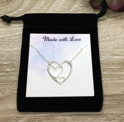 3 Hearts Silver Necklace, Simple Reminders Jewelry, Gift for Grandma, Gift for Mom, Mother of 2 Gift, Minimalist Necklace