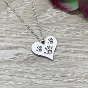 Mother of Twins Gift, Tiny Handprints Necklace, Silver Heart Pendant, Gift from Kids to Mom, Mommy Birthday Gift, Sentimental Necklace