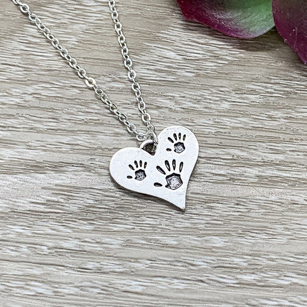 Amazing Mother Gift, Tiny Handprints Necklace, Silver Heart Pendant, Gift from Kids to Mom, Mommy Birthday Gift, Sentimental Necklace