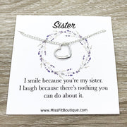 Sister Necklace, Heart Pendant, Big Sister Gift, Dainty Necklace, Little Sister Gift, Gift for Sister, Simple Reminder Gift, Birthday Gift