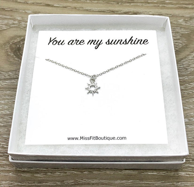 You Are My Sunshine Gift, Silver Tiny Sun Pendant, Dainty Necklace, Gifts for Her, Birthday, Gift for Best Friend, Simple Reminders Jewelry