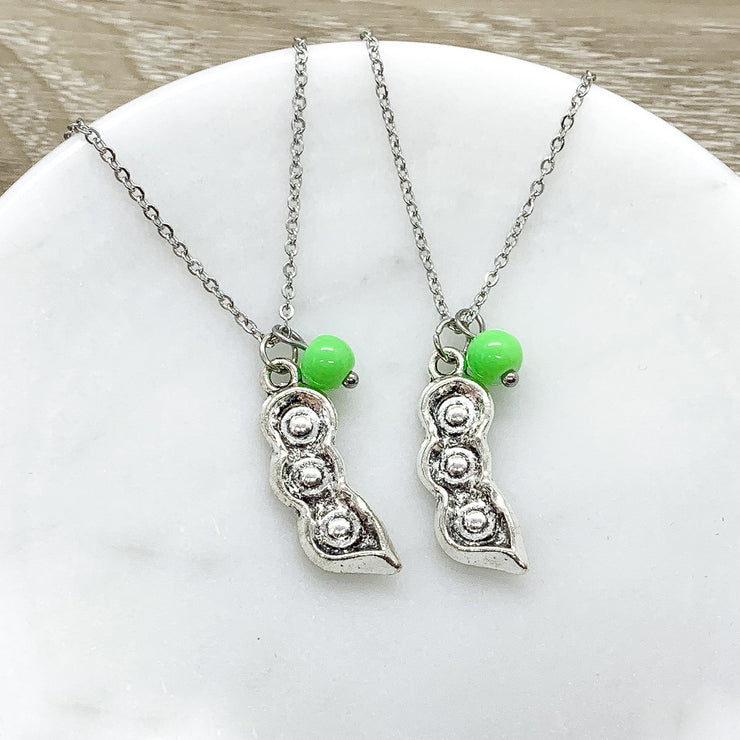 Two Peas in a Pod Necklace Set for 2, Gift for Best Friend, Friendship Necklaces, Gift for Soul Sister, Matching Necklaces, Friends Forever