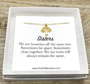 Tiny Tree Necklace, Sisters Jewelry, Branches Off the Same Tree Quote, Gift for Little Sister, Nature Lover Gift, Sister Birthday Gift