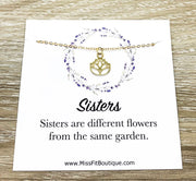 Gold Lotus Flower Necklace, Sisters Quote Card, Dainty Flower Necklace, Lotus Pendant, Yoga Jewelry, Inspirational Gift