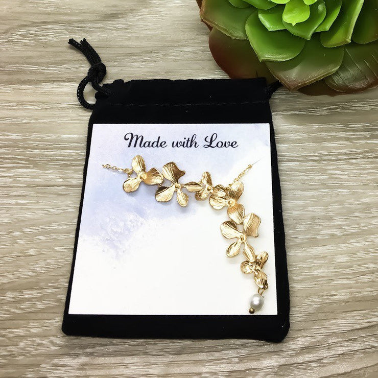Flower Petal Necklace, Orchid Flower Necklace, Dainty Necklace, Keep Going Gift, Orchid Pendant, Sister Jewelry, Inspirational Gift