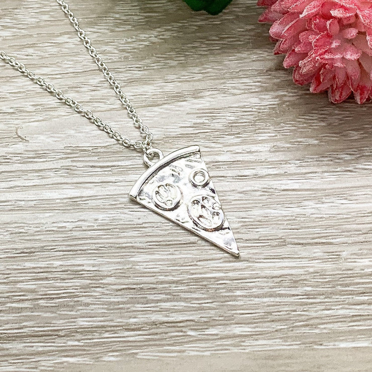Tiny Pizza Necklace, Friendship Necklace, Cute Friends Card, Pizza Jewelry, Minimal Cheese Pizza Necklace, Bestie Gift