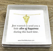 Tiny Pizza Necklace, Slice of Happiness Card, Friendship Necklace, Cute Friends Card, Pizza Jewelry, Bestie Gift, BFF Necklace Gift for Her