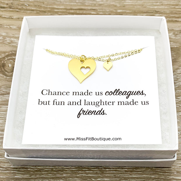 Colleague Gift, Heart Necklace Set for 2, Chance Made Us Colleagues, Gift for Friend, Coworker Gift, Retirement Gift, Friendship Necklaces