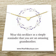 Grandmother Gift, Sentimental Card, Grandma Necklace, Tiny Heart Necklace, Gift from Grandchildren, Granddaughter Gift, Simple Reminder Gift