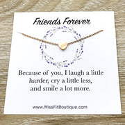Friends Forever Card, Tiny Heart Necklace, Simple Reminder Gift, Gift for Bestie, Gift for Best Friend, Sister Gift, Thinking of You