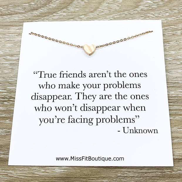 True Friends Quote Card, Tiny Heart Necklace, Simple Reminder Gift, Gift for Bestie, Gift for Best Friend, Sister Gift, Thinking of You
