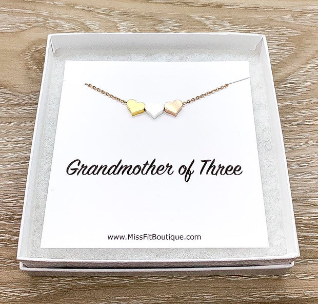 GrandMother of Three Gift, 3 Hearts Necklace with Personalized Card, Mother Necklace, Gift for Mom, Gift for Mom Jewelry, Dainty Necklace