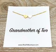 Grandmother of Two Necklace with Gift Box, Multiple Hearts Necklace, 2 Heart Pendants, Gift for Grandma from Grandkids, Gift for Nana