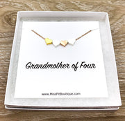 Grandmother of Four Gift, 4 Hearts Necklace with Personalized Card, Grandma Necklace, Gift for Mom, Gift from Granddaughters, Generations