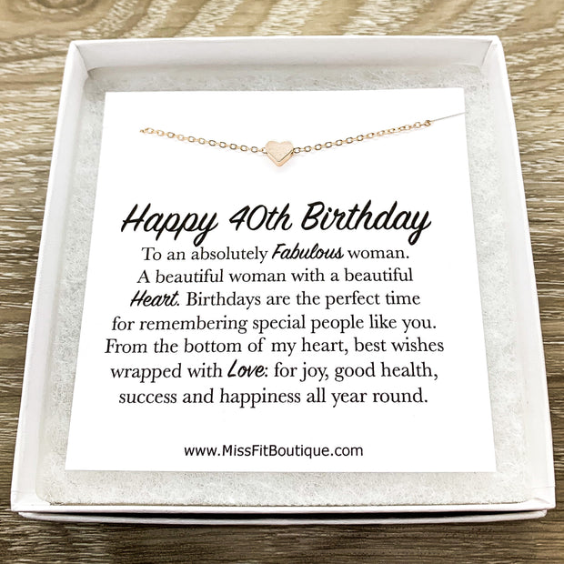Happy 40th Birthday Card, Tiny Heart Pendant Necklace, 40 Years Old Jewelry, Forty Celebration, Gift for Best Friend, Custom Message Card